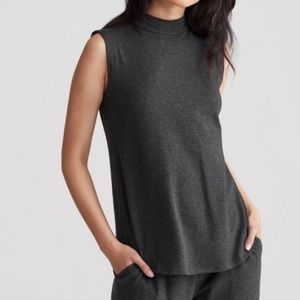 Eileen Fisher Mock Neck Pullover Top Gray - Small